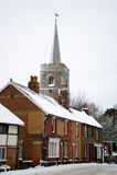 English village snow covered Stock Photos