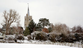 English village snow covered Stock Images
