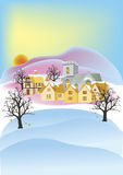 English village sunset and snow Royalty Free Stock Photo