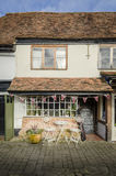 English Village Tea Rooms. Quaint old fashioned  English tea rooms with Union Jack bunting Royalty Free Stock Image