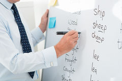 English vocabulary. Close-up of a male teacher writing English words on the whiteboard Stock Photos