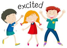 English vocabulary of excited vector illustration