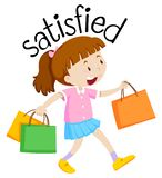 English vocabulary of satisfied stock illustration