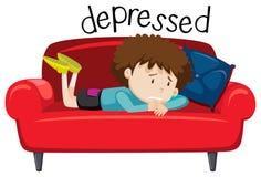 English vocabulary word of depressed. Illustration stock illustration
