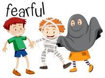 English vocabulary word of fearful. Illustration vector illustration