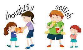 Free English Vocabulary Word Thoughtful And Selfish Stock Photos - 131474213