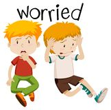 English vocabulary of worried royalty free illustration