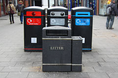 English waste disposal. Different types of containers. recycle system Stock Image