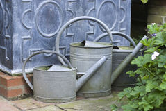 English watering cans. English garden watering cans, UK September 2010 Stock Images