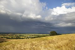 English weather. Rain clouds over rural Warwickshire, England Stock Photography