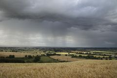 English weather. Rain clouds over Warwickshire, England Royalty Free Stock Images