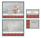 English Wedding Invitations Cards Set royalty free illustration