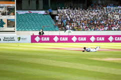 English wicketkeeper unable to save boundary Stock Image
