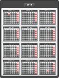 2014 english widget calendar Royalty Free Stock Images