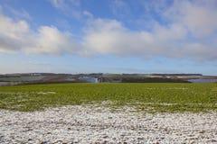 English winter farmland landscape Stock Photo