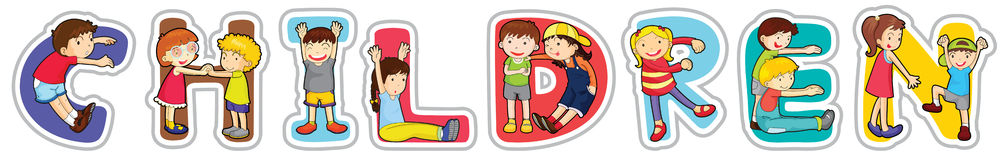 English word children Stock Images