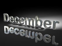 English word December. A three-dimensional rendering of the English word for the month of December Stock Image