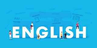 Free English Word For Education With Icons Flat Design. Vector Polyglot Typographical Wordcloud With Mutiple Words Stock Photos - 100353953