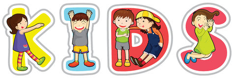 English word kids Stock Images