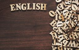English word made from wooden letters royalty free stock image
