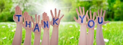 Word Thank You On Hands, Sunny Meadow Stock Images