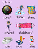 English words begin with letter S. Illustration Royalty Free Stock Photo