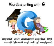 English words. Starting with the letter G Royalty Free Stock Images