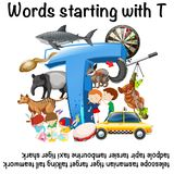 English words starting with T. Illustration royalty free illustration