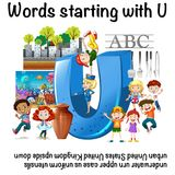English worksheet for words starting with U. Illustration Stock Images