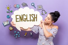 English with woman holding a speech bubble. English with young woman holding a speech bubble royalty free stock photography