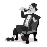 Englishman drinking tea from a little teacup. And extend his pinky finger. Black and white isolated vector illustration Royalty Free Stock Image
