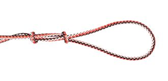 Englishman`s loop knot tied on synthetic rope. Cut out on white background stock photo