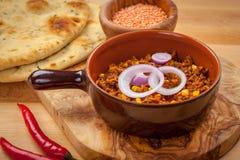 Engodo de pimentões mexicano Carne com lentilhas vermelhas imagem de stock royalty free