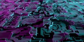 Engodo estrangeiro da tecnologia de inteligência artificial da Olá!-tecnologia moderna escura ilustração do vetor
