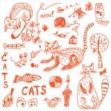 Engraçado ajustado do doodle dos gatos Fotografia de Stock