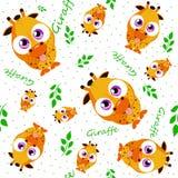 Engraçado sem emenda com a imagem dos girafas em uns desenhos animados, crianças Imagens de Stock