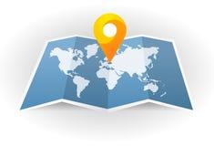 Engrana el icono Correspondencia de la ciudad Punto en el mapa Pin y navegador de GPS Indicador del marcador del mapa con el mapa ilustración del vector