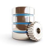 Engranaje de la base de datos en un fondo blanco Foto de archivo libre de regalías