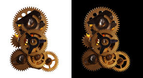 Engranaje de la vendimia con los engranajes giratorios Fotos de archivo