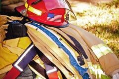 Engranaje de los bomberos Imágenes de archivo libres de regalías