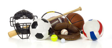 Engranaje de los deportes en blanco Fotografía de archivo libre de regalías