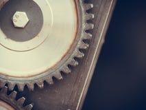 Engranaje de piñón hecho del acero, objeto industrial Foto de archivo