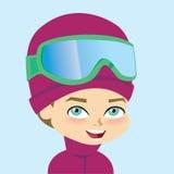 Engranaje del esquí del wearign del muchacho del vector ilustración del vector
