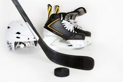 Engranaje del hockey con el copyspace Imagen de archivo