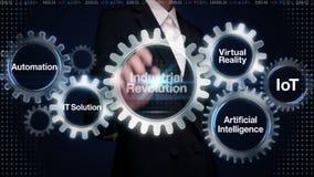 Engranaje del tacto de la empresaria con la palabra clave, automatización, solución de las TIC, realidad virtual, 'Revolución ind stock de ilustración