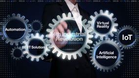 Engranaje del tacto de la empresaria con la palabra clave, automatización, solución de las TIC, realidad virtual, '4ta Revolución ilustración del vector