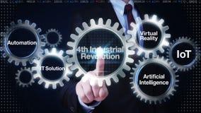 Engranaje del tacto del hombre de negocios con la palabra clave, automatización, las TIC, realidad virtual, inteligencia artifici stock de ilustración