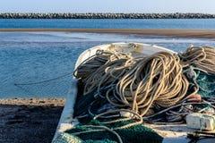 Engranaje en el barco para pescar Foto de archivo