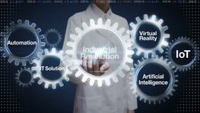 Engranaje femenino del tacto del científico con la palabra clave, automatización, solución de las TIC, realidad virtual, 'Revoluc stock de ilustración