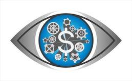 Engranaje financiero en el ojo - ejemplo de la rueda del diente de los mecanismos del vector aislado en el fondo blanco ilustración del vector
